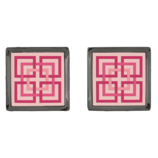 Modern Geometric Squares, Coral Pink and Coral Red Gunmetal Finish Cuff Links