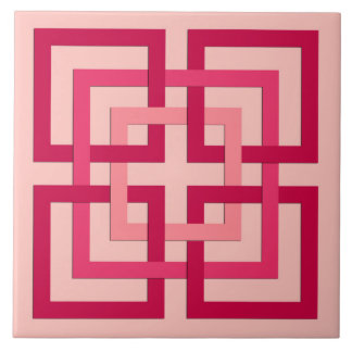 Modern Geometric Squares, Coral Pink and Red Tile
