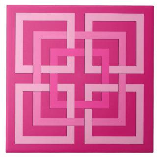 Modern Geometric Squares, Fuchsia and Light Pink Ceramic Tile