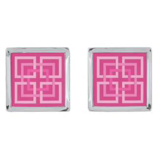 Modern Geometric Squares, Fuchsia and Light Pink Silver Finish Cuff Links