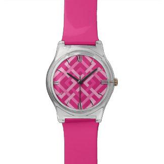 Modern Geometric Squares, Fuchsia and Light Pink Watch