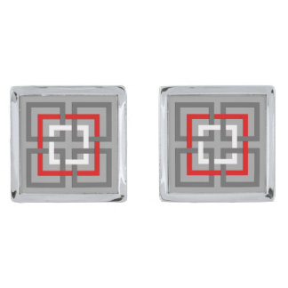 Modern Geometric Squares, Gray, Red and White Silver Finish Cufflinks