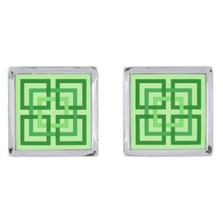 Modern Geometric Squares, Mint Green and Emerald Silver Finish Cuff Links