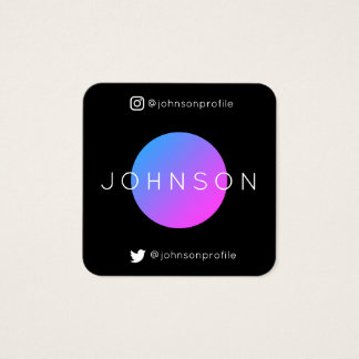 Modern geometric style with QR code black edit Square Business Card