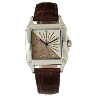 Modern Geometric Sunburst, Brown, Taupe and Beige Watch