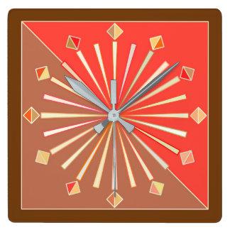 Modern Geometric Sunburst, Coral Orange and Tan Square Wall Clock
