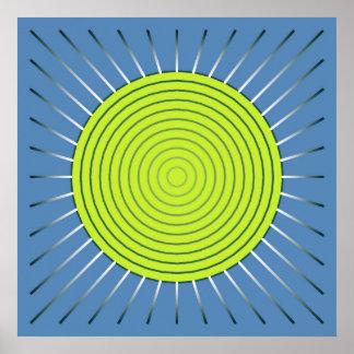 Modern Geometric Sunburst - Lime and Denim Blue Posters