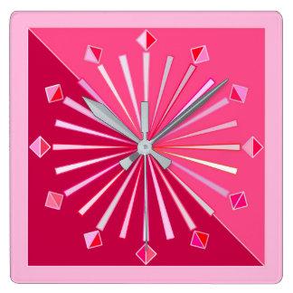 Modern Geometric Sunburst, Wine and Fuchsia Pink Square Wall Clock