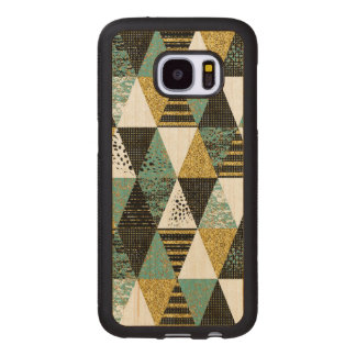 Modern Geometric Textured Triangles Pattern GR3 Wood Samsung Galaxy S7 Case