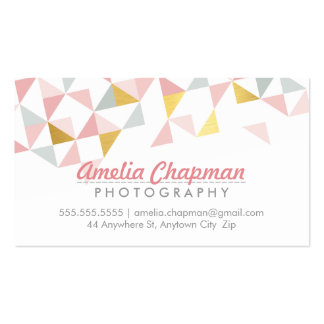 MODERN GEOMETRIC triangle aztec pattern coral gold Pack Of Standard Business Cards