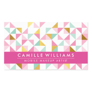 MODERN GEOMETRIC triangle aztec pattern mint pink Pack Of Standard Business Cards
