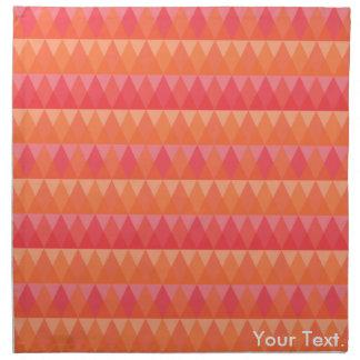 Modern Geometric Triangle Pattern Coral & Pink Art Napkin