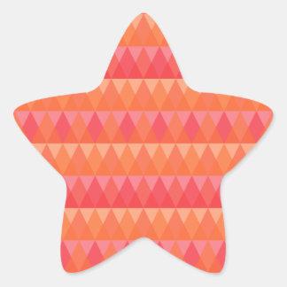 Modern Geometric Triangle Pattern Coral & Pink Art Star Sticker
