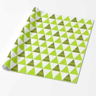 Modern Geometric Triangles Green & White Pattern Wrapping Paper