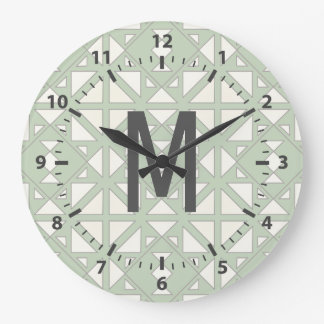 Modern Geometric Triangles in Moss & Gray Large Clock