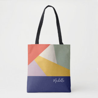 Modern Geometric Triangles Pattern | Personalized Tote Bag