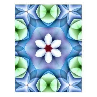 Modern Geometric White Daisy Postcard