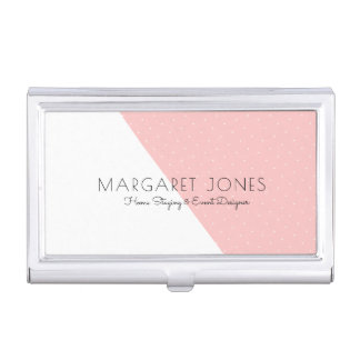 Modern Geometric White & Pastel Pink Business Card Holder