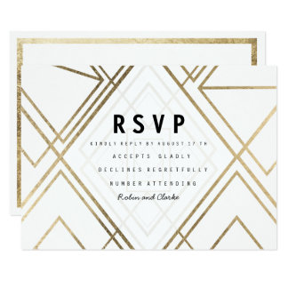 Modern geometrical lines white faux gold RSVP Card