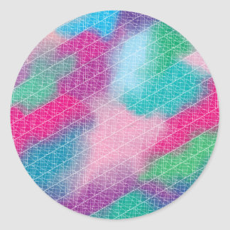 Modern geometrical pink pastel watercolor pattern classic round sticker