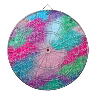 Modern geometrical pink pastel watercolor pattern dartboard with darts
