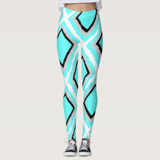 Modern Geometrics, Aqua, Black, Gray, White Leggings