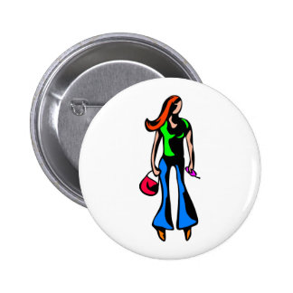 Modern Girl 6 Cm Round Badge