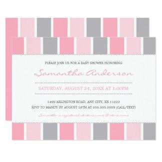 Modern Girl Baby Shower Invite, pink grey stripes Card