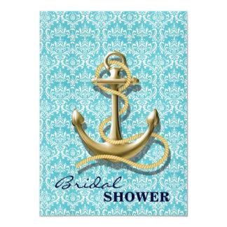 "modern girly anchor damask nautical bridal shower 4.5"" x 6.25"" invitation card"