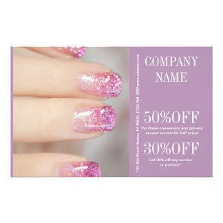 modern girly beauty salon fashion nail artist 14 cm x 21.5 cm flyer