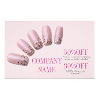modern girly beauty salon pink nail artist 14 cm x 21.5 cm flyer
