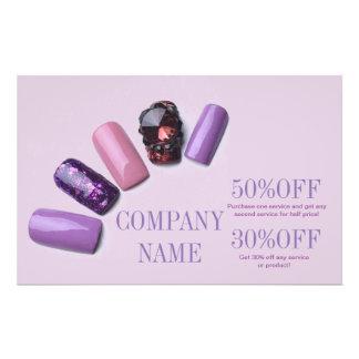 modern girly beauty salon purple nail artist 14 cm x 21.5 cm flyer