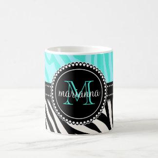 Modern Girly Black Aqua Zebra Print Personalized Basic White Mug