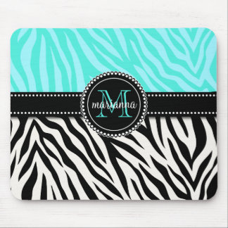 Modern Girly Black Aqua Zebra Print Personalized Mousepad