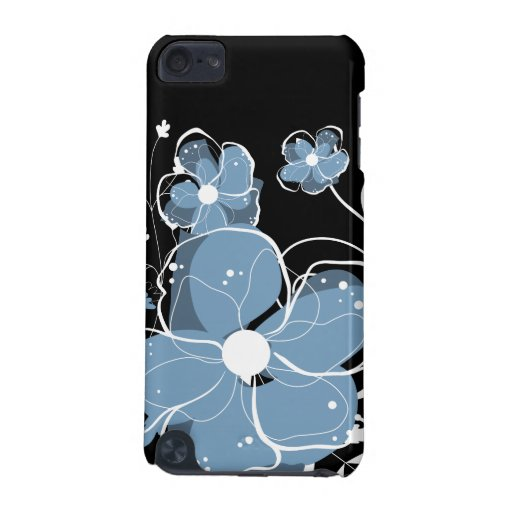 Modern Girly Blue and White Flowers iPod Touch (5th Generation) Case