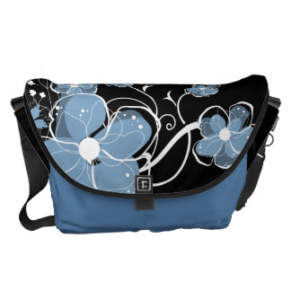 Modern Girly Blue and White Flowers Commuter Bag