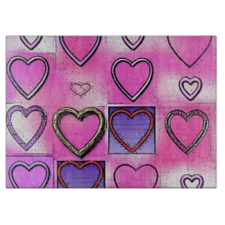 Modern Girly Bright Pink Heart Collage Cutting Board