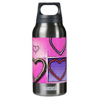 Modern Girly Bright Pink Heart Collage Insulated Water Bottle