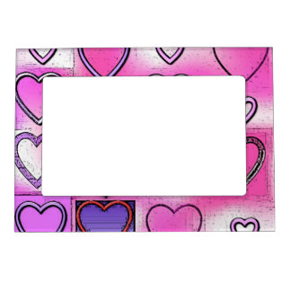 Modern Girly Bright Pink Heart Collage Magnetic Frame