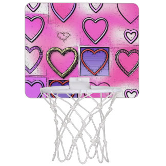 Modern Girly Bright Pink Heart Collage Mini Basketball Hoop