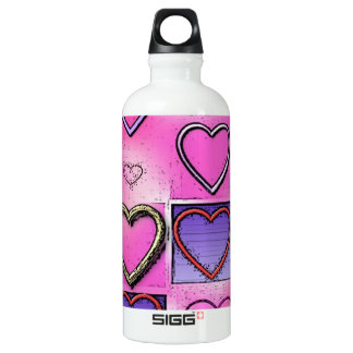 Modern Girly Bright Pink Heart Collage SIGG Traveller 0.6L Water Bottle