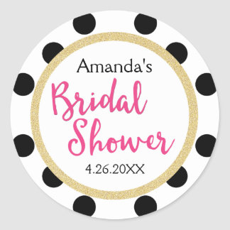 Modern Girly Chic Bridal Shower Round Sticker