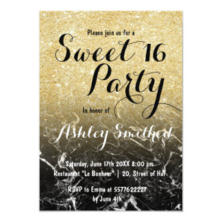 Modern girly faux gold glitter marble Sweet 16 Card