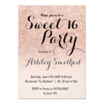 Modern girly faux rose gold glitter ombre Sweet 16 13 Cm X 18 Cm Invitation Card