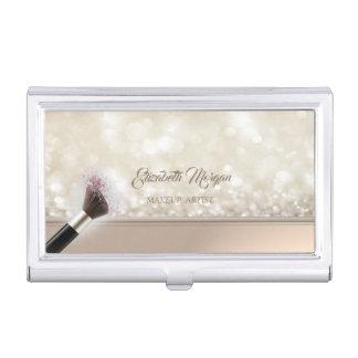Modern Girly  Glittery,Bokeh,Makeup Brush Business Card Holder