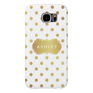 Modern Girly Gold Glitter Polka Dots Pattern Samsung Galaxy S6 Cases