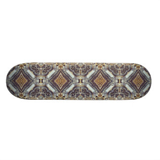 modern girly grey gold Exotic Medallion pattern Skate Board