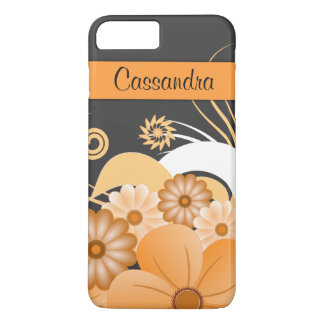 Modern Girly Ivory Gold Hibiscus Floral Swirls iPhone 8 Plus/7 Plus Case