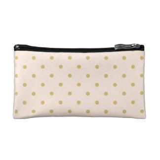 Modern Girly Pink and Gold Polka Dots Pattern Makeup Bag