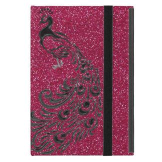 Modern Girly Pink Glitter Black Peacock iPad Case